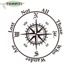 Image 4 - Not All Those Who Wander Are Lost Compass Car Sticker Reflective Removable Pvc Art Words Door Decor Decals Adhesive