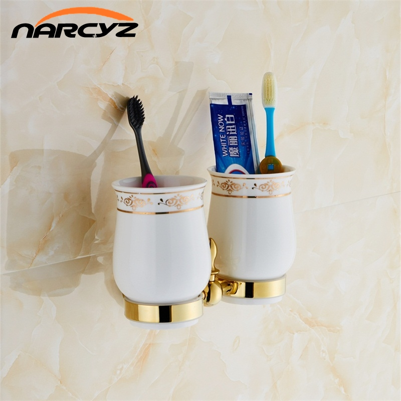European Style Luxury Gold Toothbrush Holder Tumbler Holder Double Cup Holder Bathroom Accessories Free Shipping 9089K free shipping single tumbler holder toothbrush cup holder gold finish glasss cup bathroom accessories gb001b