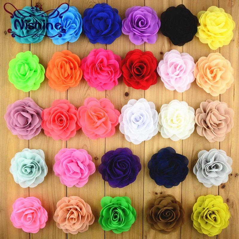 Nishine 10pcs/lot 8cm 28 Mixed Colors Chiffon Fabric Rose Flower Without Clip For Girls Hair Accessories Hand Craft DIY halloween party zombie skull skeleton hand bone claw hairpin punk hair clip for women girl hair accessories headwear 1 pcs