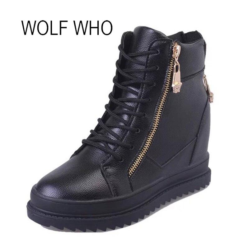 WOLF WHO Female High Top White Sneakers Women Wedge Shoes Ladies Platform Casual Hidden Heels Increased Internal Krasovki H-165