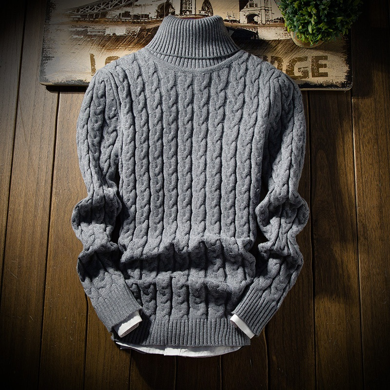 6a39c52b8 2018 Novos Homens da Moda Camisola de Gola Alta Espessura Quente Masculina  Inverno Pullovers Malhas Slim Fit Roupas de Marca DO Homem