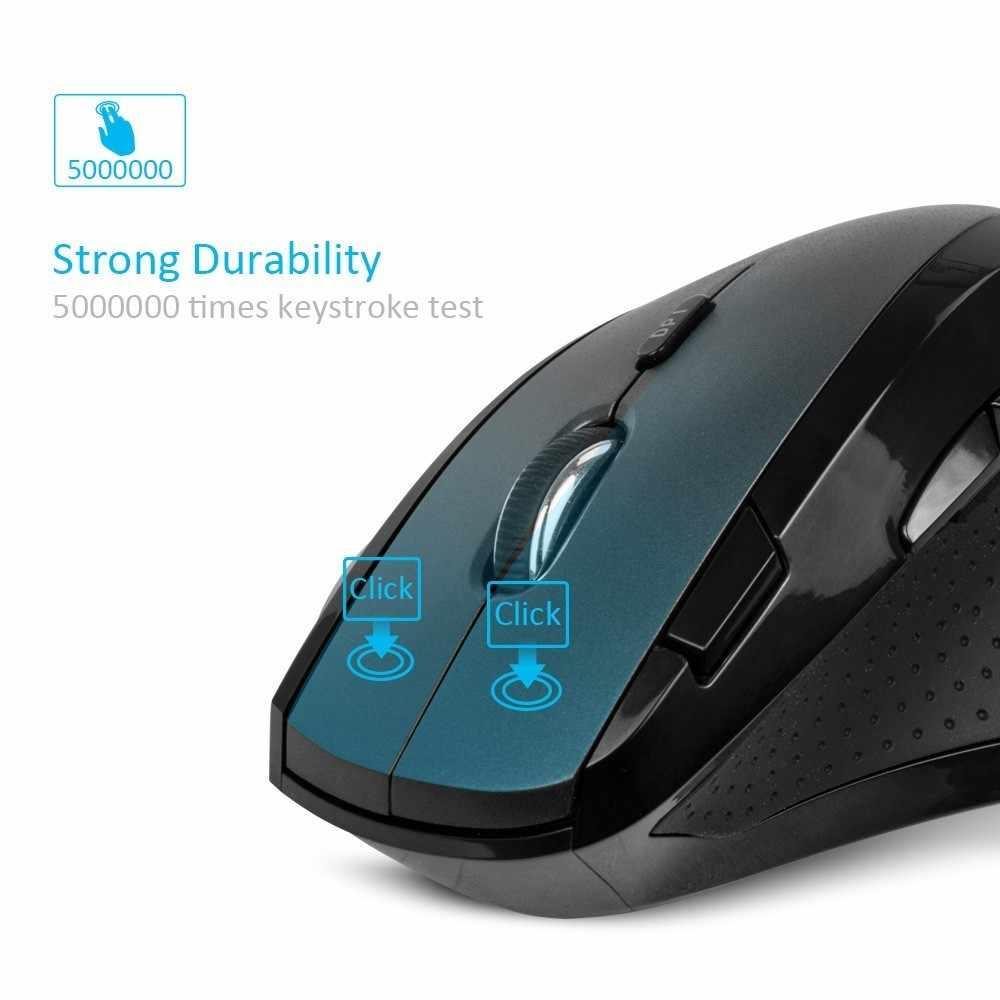 Delux M910GB 2.4GHz Mouse Nirkabel 9 Tombol 2400 Dpi Ergonomis Vertikal Kantor Tikus dengan Palm Rest Yang Dapat untuk PC laptop