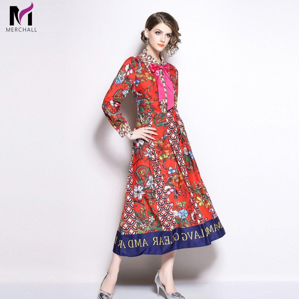 Merchall High Quality Autumn Runway Maxi Dresses Women Long Sleeve Elegant Bow Floral Print Slim Party Dress