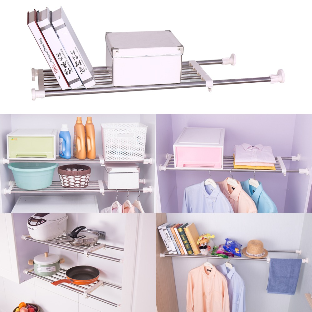 Expandable Closet Organizer Storage Shelf Wall Mounted Kitchen Rack Space Saver Wardrobe Shelves Cabinet Holder Shelf DQ0778