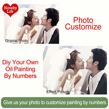 Photo Custom Make Your Own Diy Digital Oil Painting By Numbers Picture Drawing on Canvas Portrait Wedding Family Baby Photos