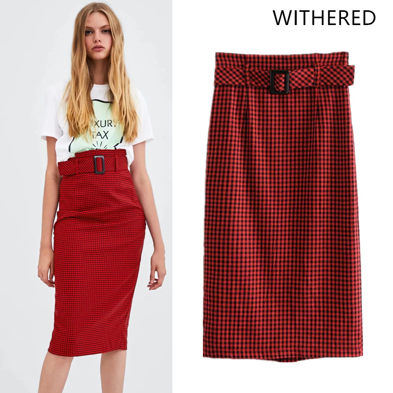 e9afebecbd2 Withered 2018 BTS skirt women england style plaid sashes single breasted  panelled straight midi skirts womens plus size 0828-in Skirts from Women s  Clothing ...