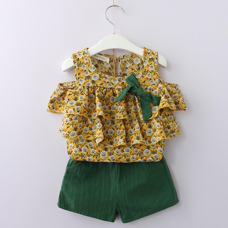 Kinderkleding Past 2018 Zomerstijl Meisjes Kinderkleding Pakken Schattig T-shirt met patroon + Korte broek 2Pc Kinderkleding vrijetijdssets