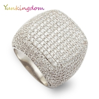 Inlay 366Pcs Zircons Rings Anniversary Banquet Party Cocktail Ring Female