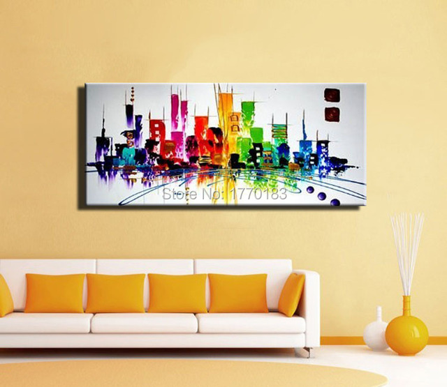 Fashion modern ABSTRACT New York painting city color night light ...