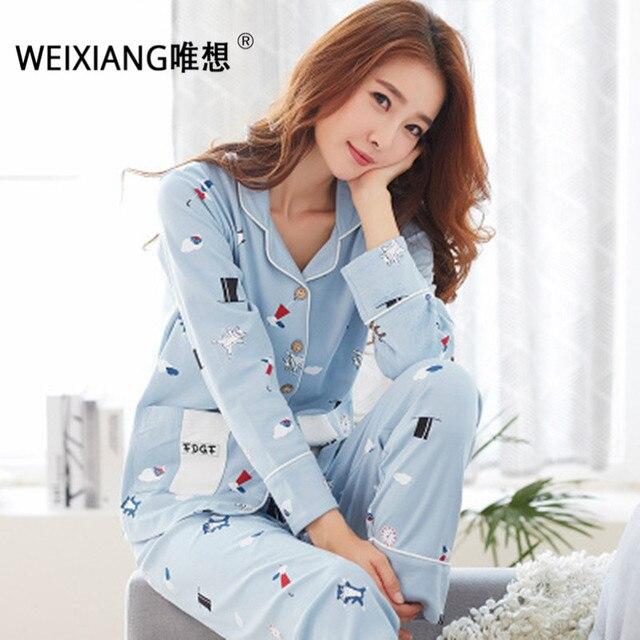 WEIXIANG Women Winter Pajama Set Soft Printing pijama Home Pyjamas Woman Cotton Pyjama Set Sleepwear Plus Size Pajamas For Women