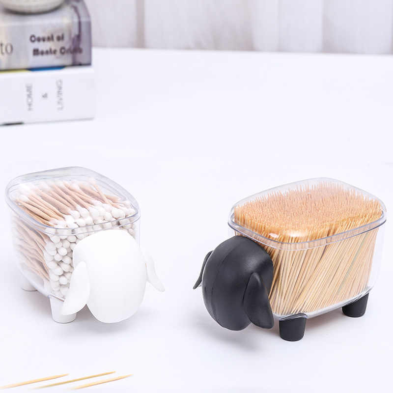Creative Cotton Swab Box Sheep Elephant Shaped Catoon Boxs Toothpick Storage Case Organizer Home Office Storage Box