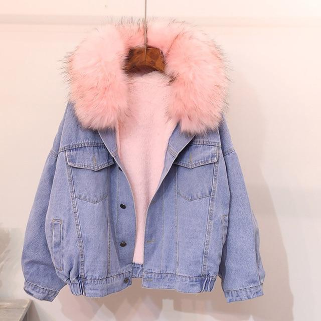 ee0079bbed0 Розовый серый из искусственного меха пальто Джинсовая куртка теплые зимние  джинсы куртка женщин большой меховой воротник