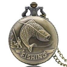 Старинные Бронзовые Рыбалка Рыбалка Кварцевые Античный Карманные Часы для Мужчин и Женщин P108