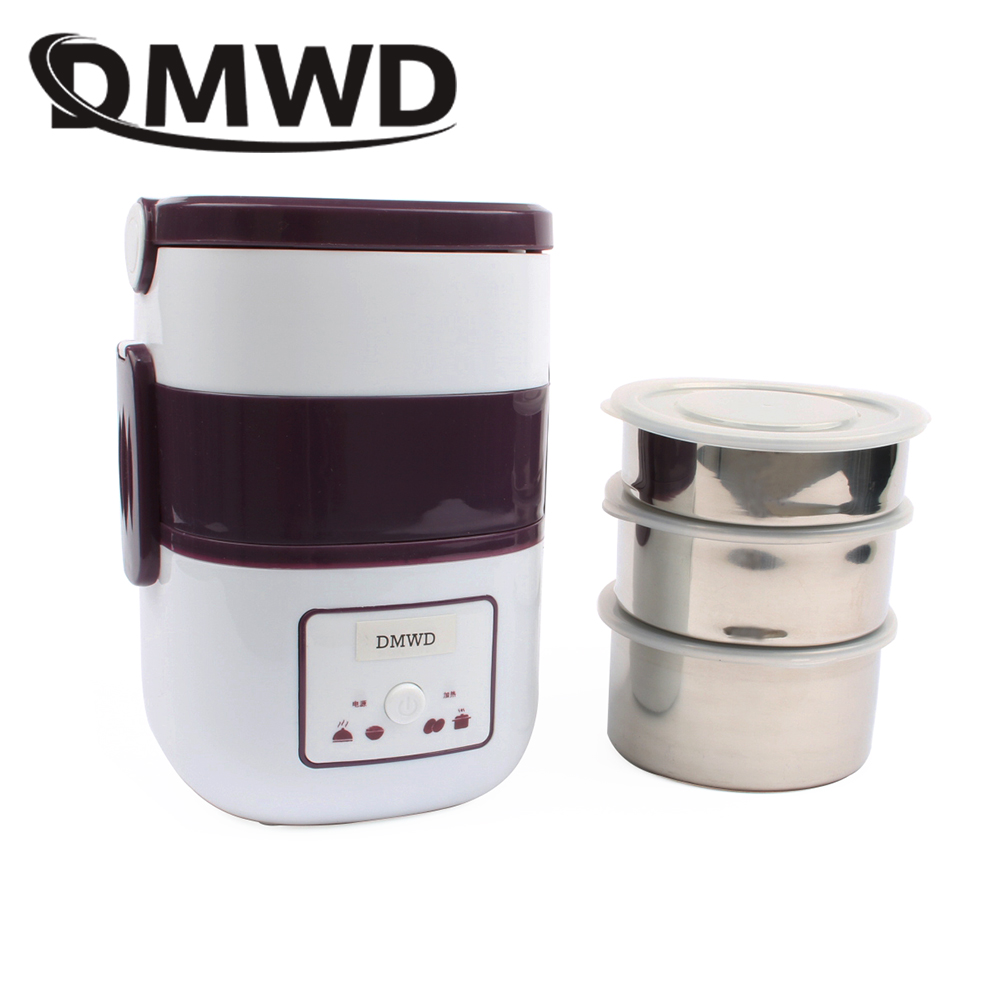 DMWD 3 Layers Electric insulation heating lunch box pluggable Steamer electrical Rice Cooker stainless steel Food Container EU multi function electric lunch box stainless steel tank household pluggable electric heating insulation lunch box