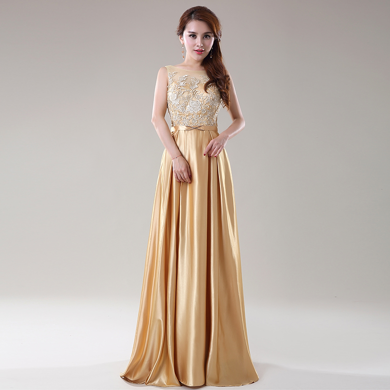 Popular Gold Satin Evening Gown-Buy Cheap Gold Satin Evening Gown ...