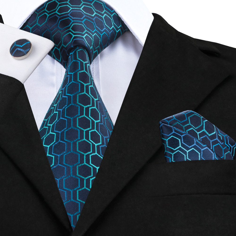 C-534 Hi-Tie Fashion Blue Green Gradient Mens Ties Neck Ties Geometric Jacquard Silk Ties For Men Suits 8.5cm Soft Corbatas