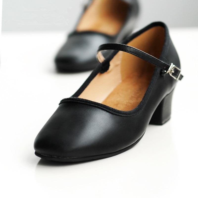 Professional Women Low Heel Ballet Shoes Dance Shose For Teacher Teaching Shoes PU Leather Single Strap Tango Dance Shoes 5311