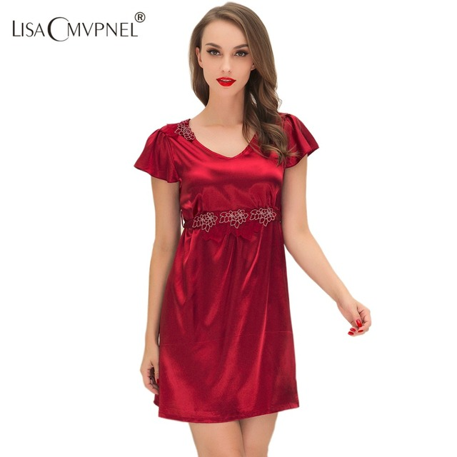 Lisacmvpnel 2016 Summer New Style Rayon V-Neck women nightgown elegant sexy high quality women nightdress