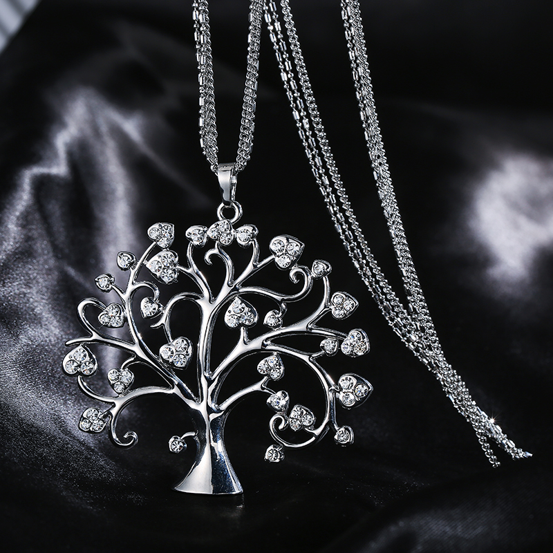 Women Vintage Big Tree Of Life Pendant & Necklace 3 Chains Long Necklace For Women Crystal Tree Jewelry Holiday Christmas Gifts Pendant Necklaces    - AliExpress