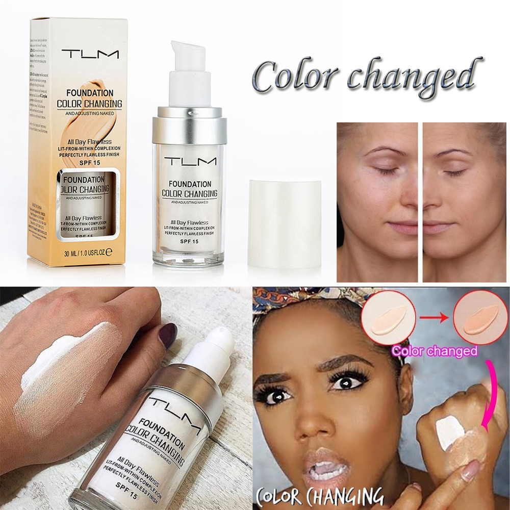 тени Colour Changing Foundation Makeup Base Nude Face Liquid Cover Concealer Longlasting Makeup Gift sombras Skin care палетка