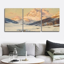Laeacco Canvas Calligraphy Painting 3 Panel Snow Mountain Wall Artwork Winter Posters and Prints Home Living Room Decor набор салфеток для декупажа бархатные розы 2шт