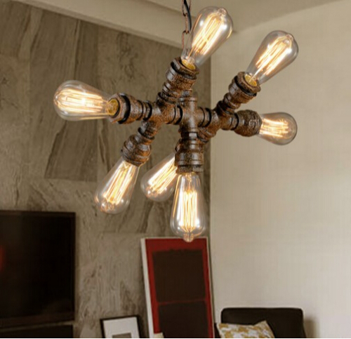 Loft Style Water Pipe Pendant Light 7 Lights Fixtures Vintage Industrial Lighting For Dining Room Hanging Suspension Luminaire