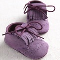 New Arrival Fringed Baby Shoes Purple Moccasins Lace-up Infant Shoes 0-18M Baby Toddler Shoes Unisex Footwear First Walkers 227