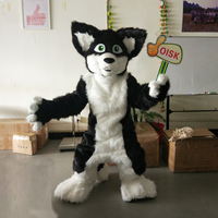 ohlees actual picture anima gray black Husky Dog l fox Mascot costume for Halloween party activity Fancy christmas adult size