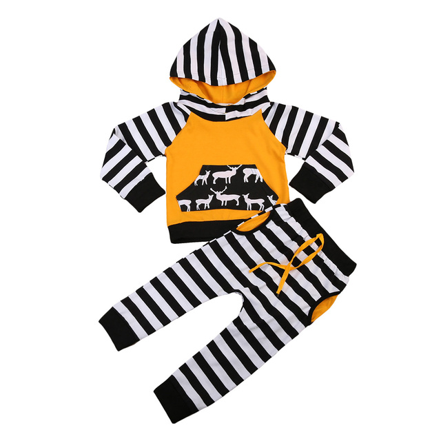 d996c3cdc Baby Boy Girl Pocket Deer Shirts Cotton Hoodie Long Sleeve Tops+Striped  Long Pants Outfits 1-4Y Children Clothes Set