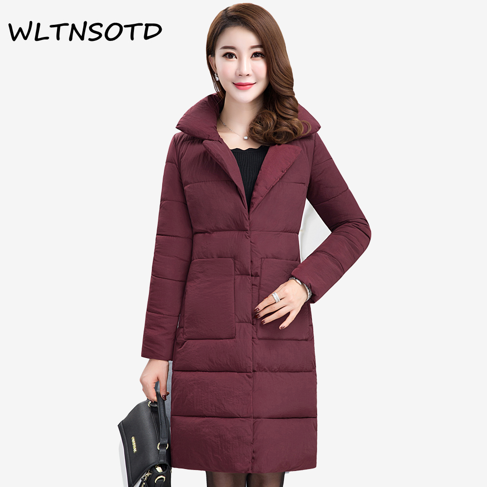 2017 winter new cotton coat women long Slim Solid  lapel Big pocket jacket Female fashion warm thick Button Parkas 2017 new winter fashion women down jacket hooded thick super warm medium long female coat long sleeve slim big yards parkas nz18