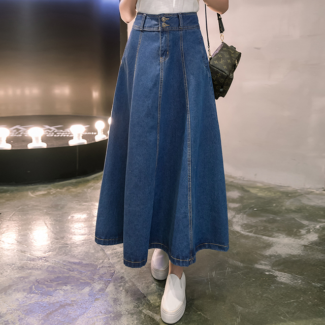 d49e83bb9 2017 New Denim Long Skirt Women High Waist A-line Preppy Style Cowboy Brief  Women Skirts