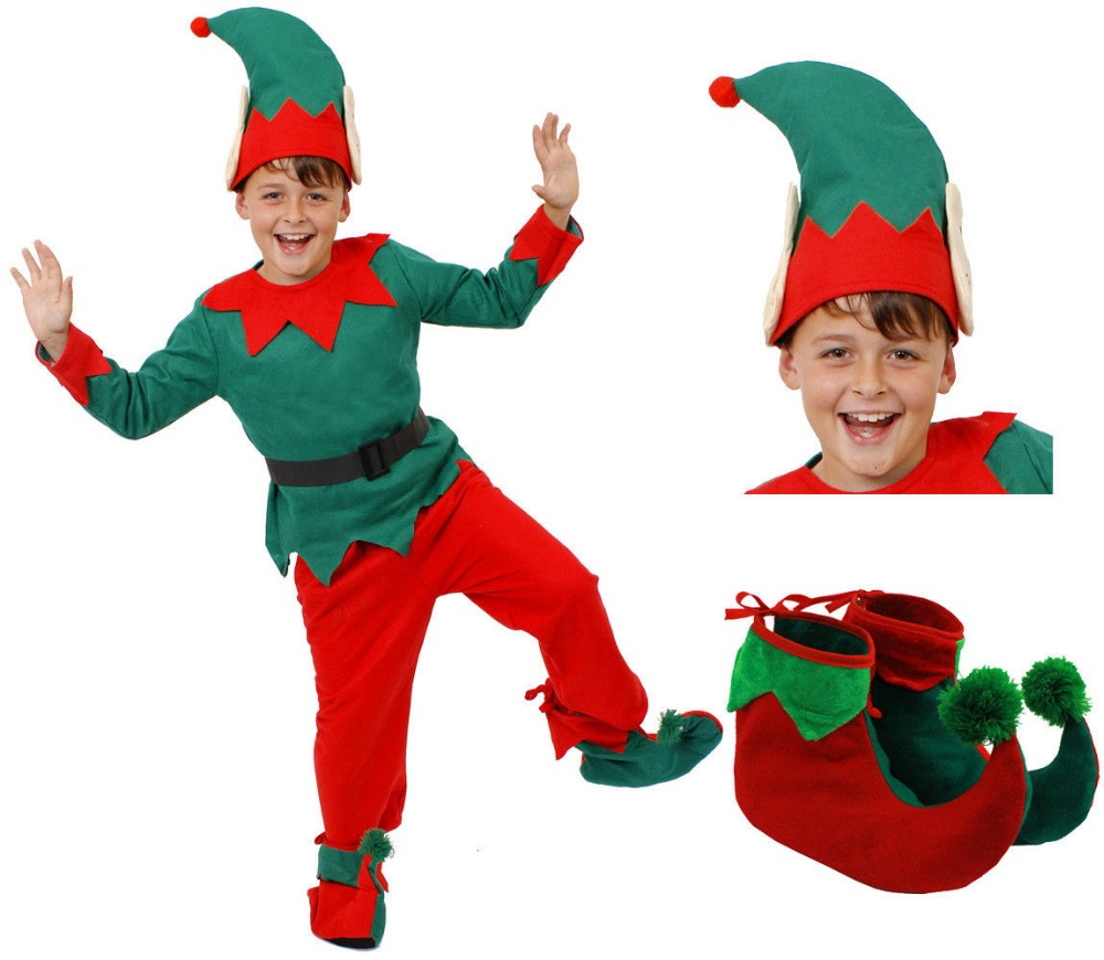FAST SHIPPING CHILD ELF COSTUME CHRISTMAS PARTY I LOVE FANCY DRESS CUTE GIRLS BOYS 5 PC SANTA'S HELPER XMAS
