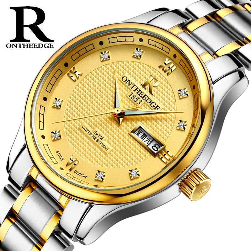 RZY025 Ultra thin Relogio Masculino Business Watch Quartz Waterproof Watches Men Top Brand Luxury Casual Stainless Wrist Watch 2018 top brand luxury diamond watch men golden stainless steel quartz watches casual business waterproof wrist watch relogio new