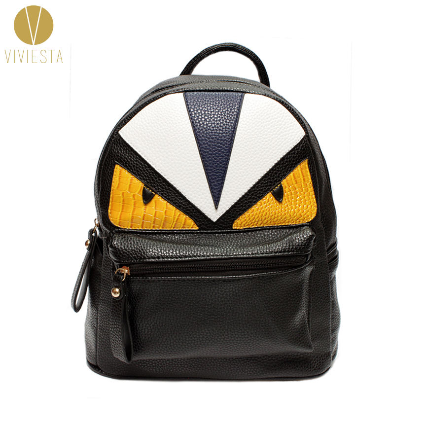 MONSTER PU LEATHER BACKPACK Women s Men s Fashion Stylish Trendy Designer  Famous Brand Color Block Devil Cartoon School Bag-in Backpacks from Luggage    Bags ... 4b4825b3c5d70