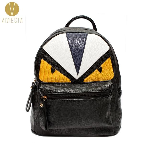 2176926724 MONSTER PU LEATHER BACKPACK - Women s Men s Fashion Stylish Trendy Designer  Famous Brand Color Block Devil
