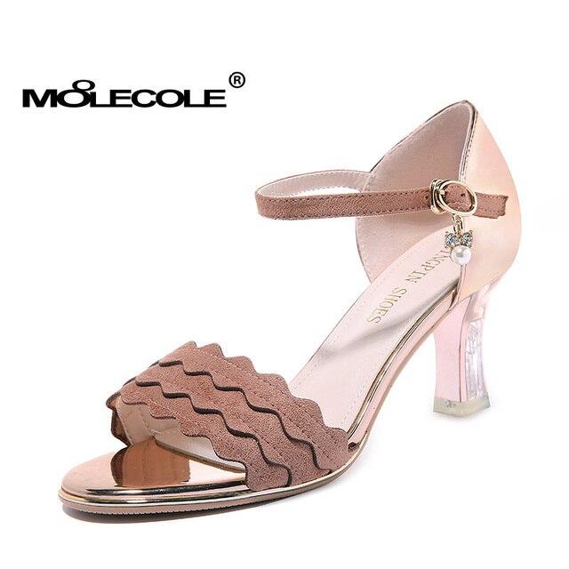 36cdcb9c5 Mulheres MOOLECOLE Sandálias Mulher Senhoras Sapatos de Salto 7.3 CM de  Festa de Casamento Bombas Tamanho