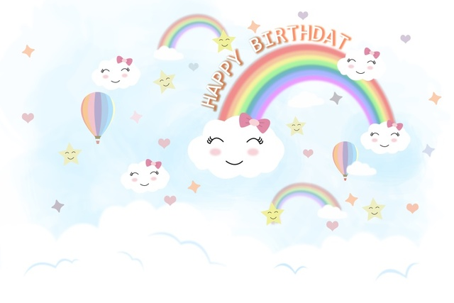 7249213a7c Laeacco Cartoon Rainbow Clouds Hot Air Balloon Baby Photography Backgrounds  Customized Photographic Backdrop For Photo Studio