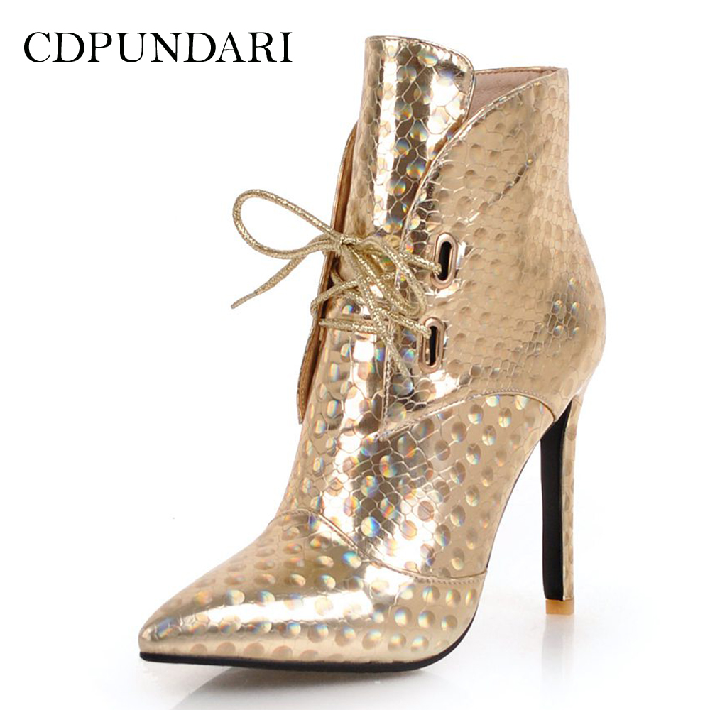 CDPUNDARI Sexy Pointed Toe Ankle boots for women Super High heels boots Ladies Winter shoes woman