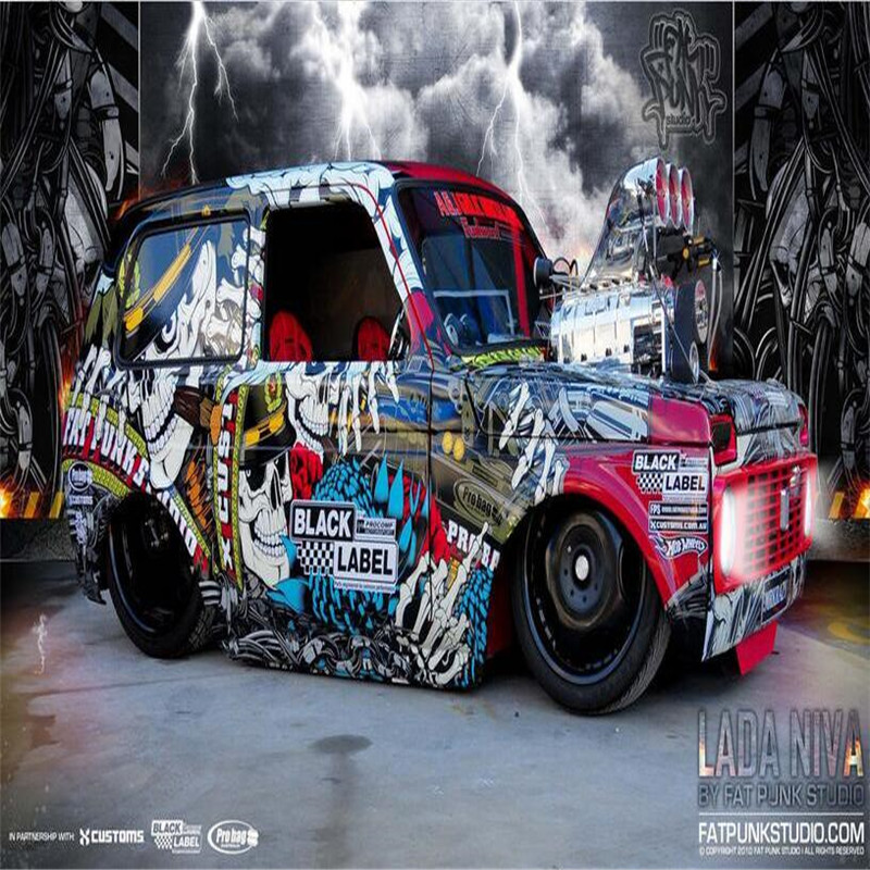 3d large wall mural wallpaper HD Modern non-mainstream car color graffiti Cafe Restaurant backdrop custom silk photo wallpaper
