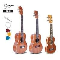 Ukulele 21 24 26 Inch Sapele Mini Electri Soprano Concert Tenor Acoustic Guitars 4 Strings Ukelele Install Pickup Travel Guitar