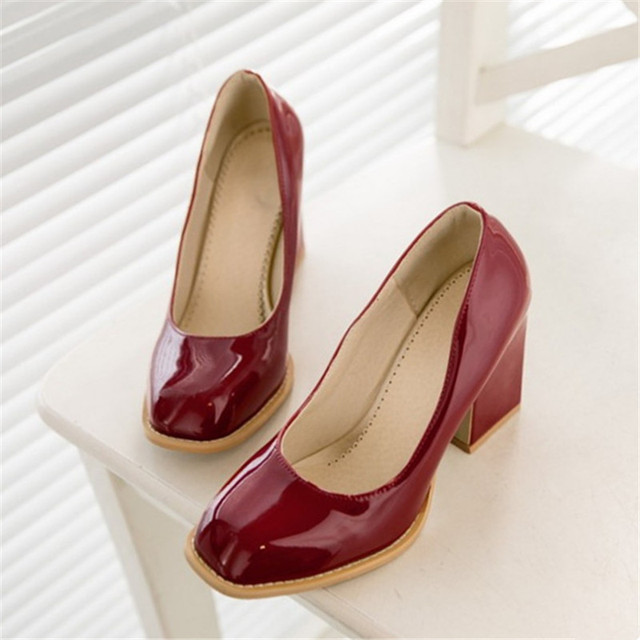 Plus Size 34-48 Fashion high heels shoes woman Square Toe Balck Patent Leather Pumps Red Party Wedding Sexy Ladies Casual Shoes