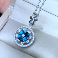 Uloveido Round Natural Blue Topaz Pendant Necklace Women 925 Sterling Silver Gemstone Star Necklace Pendant for Girl FN338