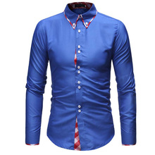 Spring Autumn Features Shirts Men Casual Jeans Shirt New Arrival Double Collar Long Sleeve Slim Fit Male