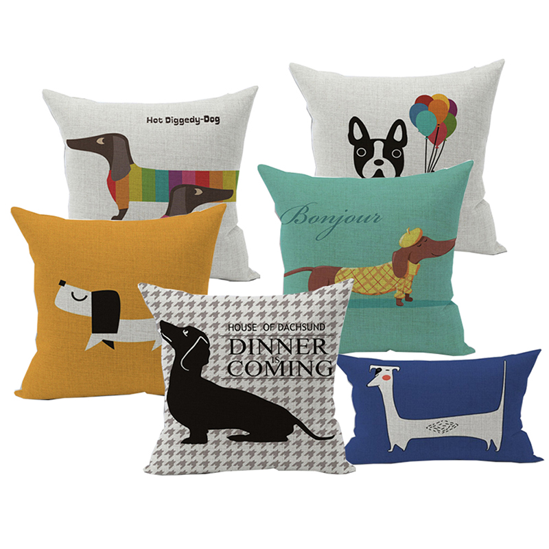 Linen Animals <font><b>Pillows</b></font> Coversn Covers Color Dachshund Throw <font><b>Pillows</b></font> <font><b>Cases</b></font> Rainbow Sausage Dogs Custom Cushio kids Gift <font><b>30*50</b></font> image