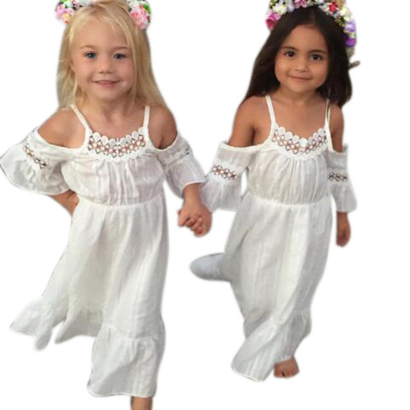 Summer Baby Girls Three Quarter Flare Sleeve Dress Solid Shoulderless Boho Beach Dresses trendy collarless three quarter sleeve floral print kimono for women