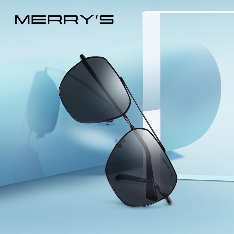MERRYS diseño hombres clásico cuadrado gafas de sol de marco de gafas de sol polarizadas para hombres que conducen los UV400 protección S8211