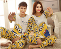 2016 primavera otoño pijamas Set Night wear juego adultos minion parejas amantes de la historieta homewear de manga larga pijamas conjuntos