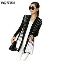 OLGITUM Spring Women Cardigan 2017 Fashion Stripes Print Long Sleeve Sweater Slim Shawl Knitting Sweater Cardigan