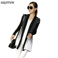 OLGITUM Spring Women Cardigan 2017 Fashion Stripes Print Long Sleeve Sweater Slim Shawl Knitting Sweater Cardigan