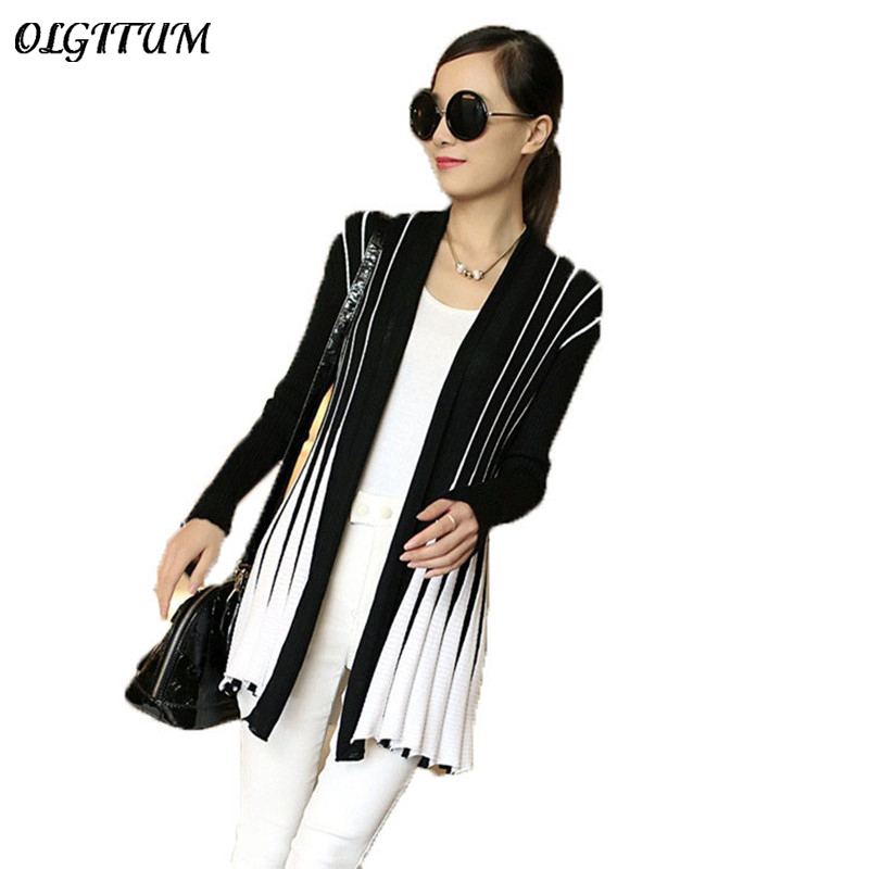 OLGITUM Spring Women Cardigan 2020 Fashion Stripes Print Long Sleeve Sweater Slim Shawl Knitting  Sweater Cardigan For Female